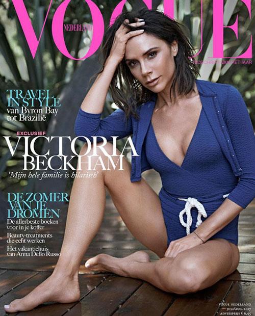 Bà mẹ 4 con khoe thân hình thanh mảnh trên Vogue phiên bản Hà Lan.