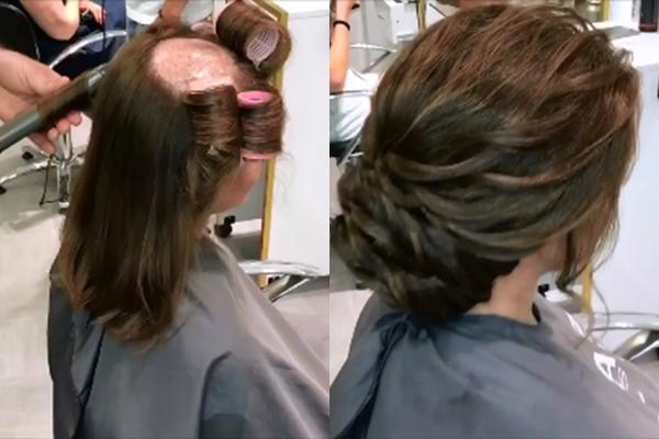 Mảng da đầu không có tóc được che phủ hoàn toàn nhờ phần mái đánh phồng hất ngược ra phía sau.
