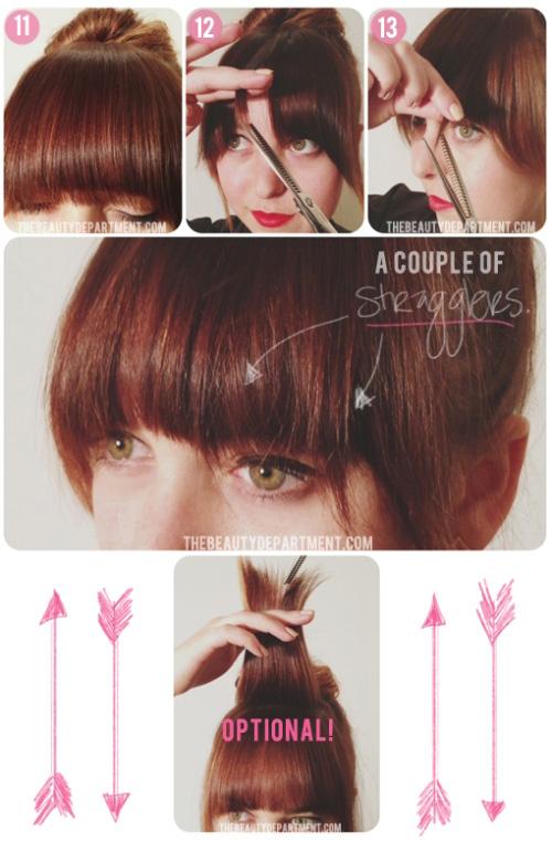 Hạ phần tóc mái ở trên và tiếp tục tỉa gọn cho bằng độ dài với phần tóc đã tỉa.