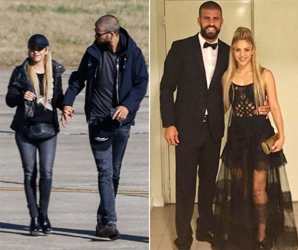 Pique và Shakira khi mới đến Rosrario (trái) và khi mặc lễ phục dự đám cưới Messi.