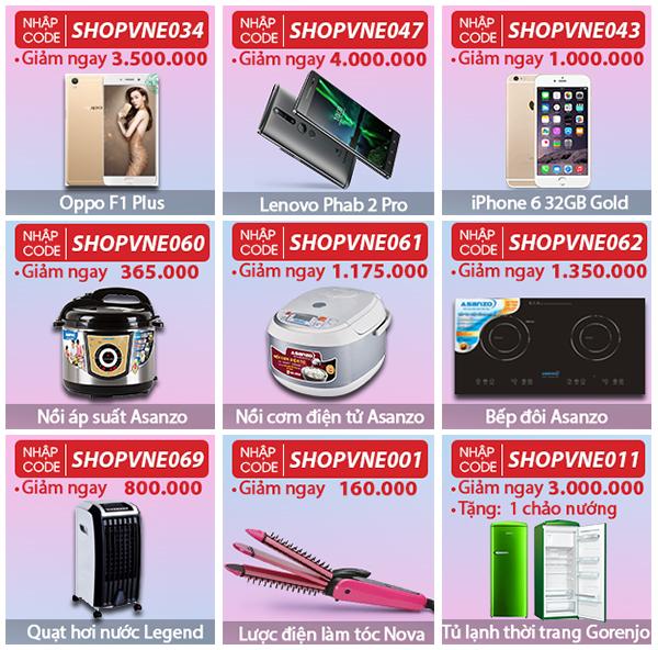 Điện thoạiOppo F1 Plus,bếp từ và hồng ngoạiAsanzo IS-16AS1cùng nhiều sản phẩm giảm giá lớn.