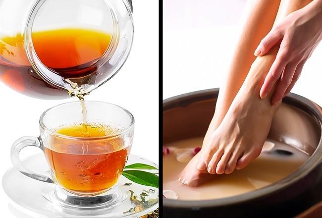 Ngâm chân với nước trà