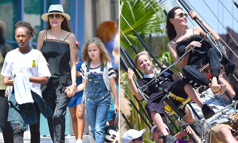Mẹ con Jolie 'quậy' tưng bừng trong Disneyland mừng sinh nhật cặp song sinh