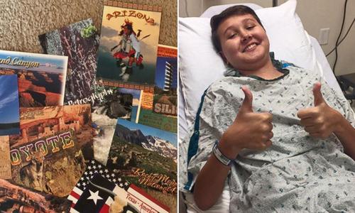 Mẹ khẩn cầu người lạ khắp 50 bang gửi bưu thiếp cho con trai ung thư máu