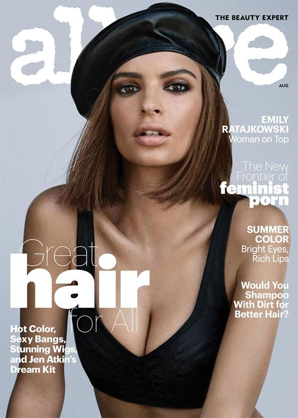 Emily Ratajkowski trên trang bìa tạp chí Allure tháng 8. Ảnh: NS.