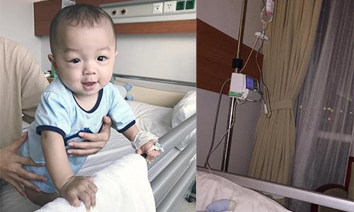 Kỳ Hân đau lòng khi con trai bị sốt phải nằm viện