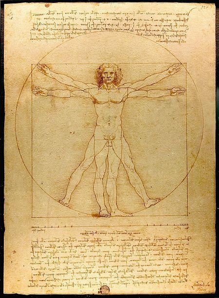 Vẻ đẹp lý tưởng của hình thể nam giới được khắc họa trong tác phẩm nổi tiếng Virtruvian Man (Người Virtruvian) của Da Vinci.