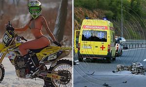 Nữ tài xế môtô gợi cảm người Nga chết vì đâm xe