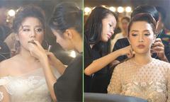 Văn Mai Hương, Bích Phương make-up kỹ lưỡng trước giờ lên sóng