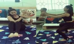 Trương Quỳnh Anh bị 'ném đá' vì vừa bế trẻ nhỏ vừa tập thể dục
