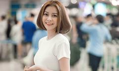 Hoa hậu Hải Dương diện trang phục giản dị xuất hiện tại sân bay