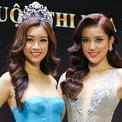Dàn Hoa hậu, Á hậu đọ sắc trong họp báo ở Sài Gòn