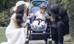 Dương Cẩm Lynh mặc điệu đà đi dạo cùng chồng và con trai
