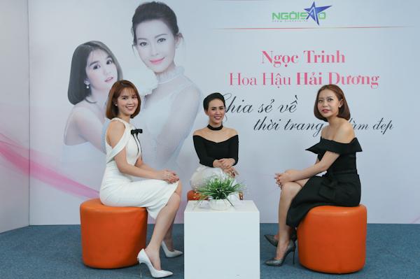 Hoa hậu Hải Dương, Ngọc Trinh chia sẻ kinh nghiệm làm đẹp, ăn mặc thời trang với độc giả Ngosao.net.