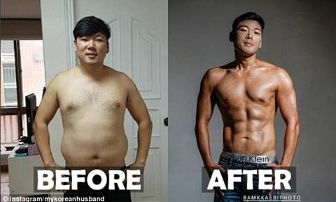 Chồng 'soái ca' Hàn Quốc giảm 23 kg, cơ bụng 6 múi để cổ vũ vợ mang bầu