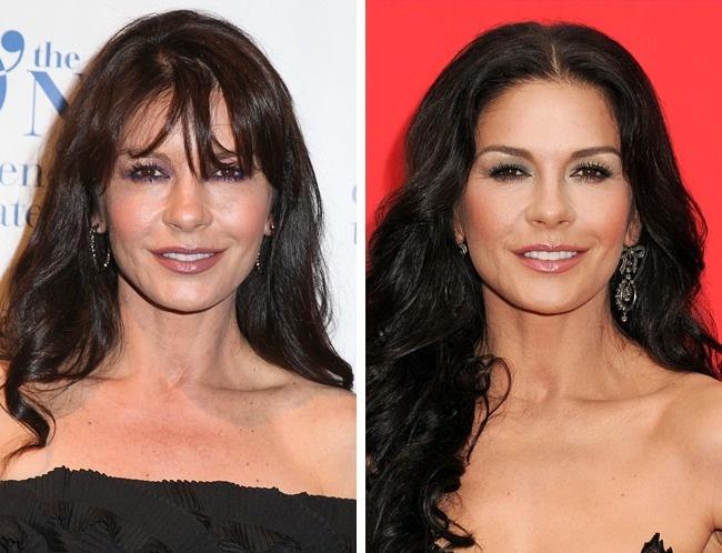 Khuôn mặt của Catherine Zeta-Jones không hợp để tóc mái bằng.