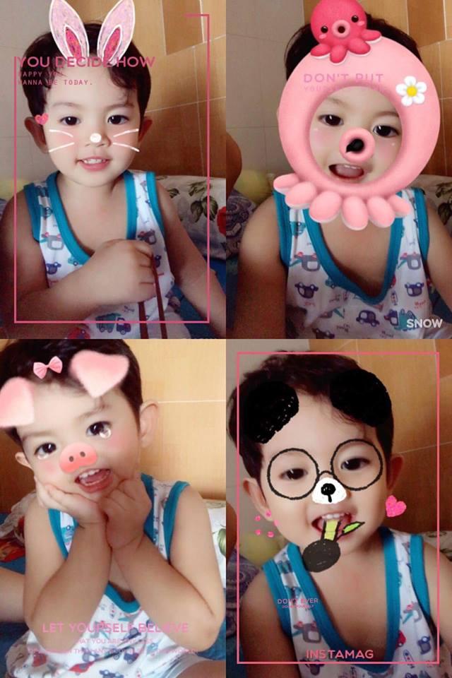 Kubi được mẹ Khánh Thi chụp ảnh bằng các ứng dụng dễ thương.