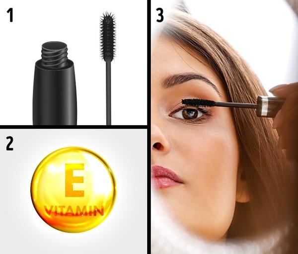Cắt đôi viên vitamin E, đổ vào cây mascara đã dùng hết rồi chuốt lên mi 2 lần mỗi ngày.