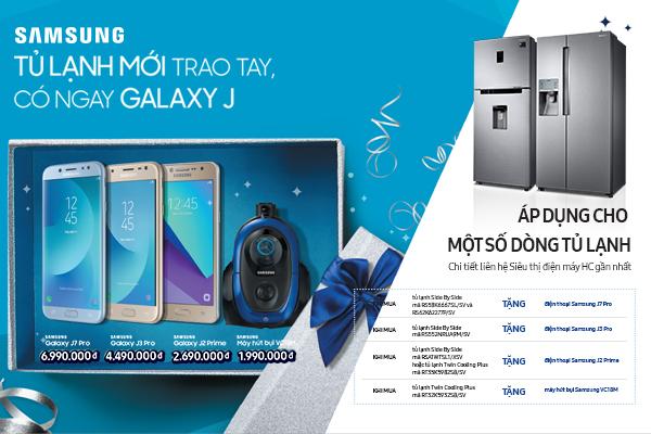 Khách hàng mua tủ lạnh Samsung có cơ hội nhận điện thoại Galaxy.