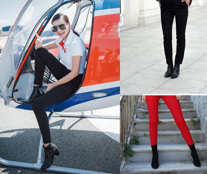 Bốt da đen ôm gọn cổ chân dễ dàng mix cùng nhiều kiểu dáng trang phục tôn nét trẻ trung, khỏe khoắn cho phái đẹp. Đơn giản nhất là kết hợp chúng với quần skinny cùng áo thun như siêu mẫu Thanh Hằng.