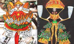 Bánh mỳ, bánh xèo, phở xuất hiện trên mẫu thiết kế quốc phục thi Hoa hậu Hoàn vũ