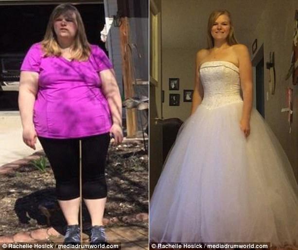 Sau một năm, Rachelle đã giảm được 70 kg, có thể diện lại chiếc váy cưới cô đã mặc 10 năm về trước.