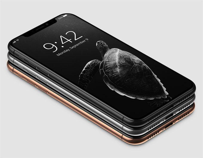 Hình ảnh được cho là iPhone X xuất hiện với ba màu là đen, vàng đồng và bạc. Cả ba đều có mặt trước màu đen hoàn toàn để tạo sự liền lạc với màn hình.