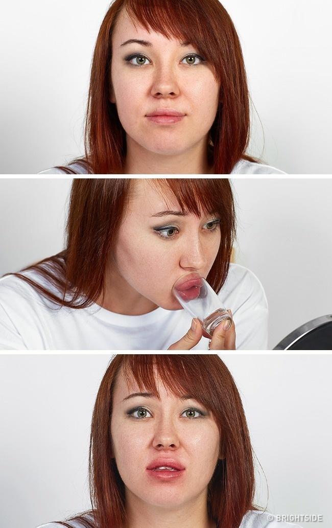 Mẹo dùng chiếc cốc nhỏ để làm phồng môi chỉ khiến đôi môi bạn sưng đỏ, nhìn khó coi, chứ không thể mang lại làn môi căng mọng quyến rũ.