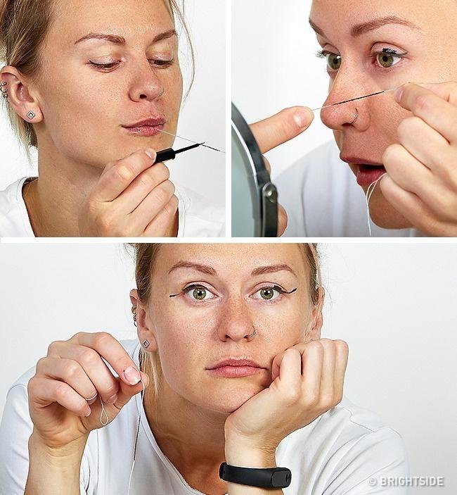 Nhiều người dùng sợi chỉ nha khoa bôi một chút mascara dính lên mắt để thay eyeliner nhưng