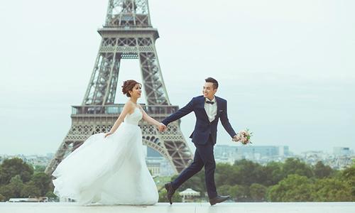 Ảnh cưới lãng mạn ở Paris của cặp đôi yêu xa cả nghìn km