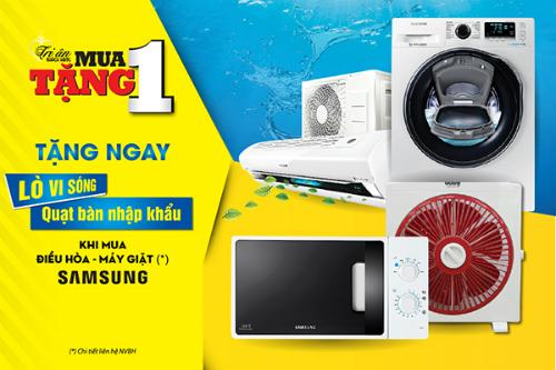 Quà tặng giá trị khi mua điều hòa, máy giặt Samsung.