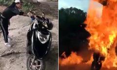 Khoe nhà có điều kiện, cô gái tự tay đổ xăng đốt xe