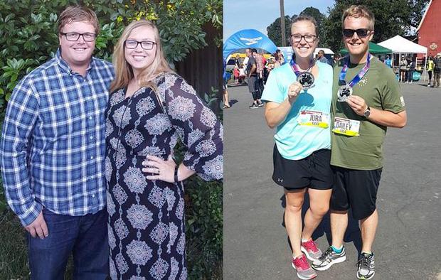 Paul và Kelsey trước - sau khi giảm cân.