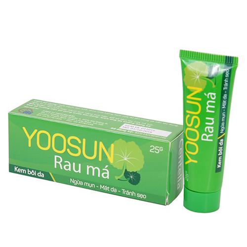 Kem Yoosun rau má là một sản phẩm mới nhưng cũng nhận được đông đảo sự khen ngợi của người dùng. Sản phẩm chiết xuất từ rau má, rất lành tính, giúp trị mụn và làm mờ vết thâm hiệu quả. Giá cho một tuýp