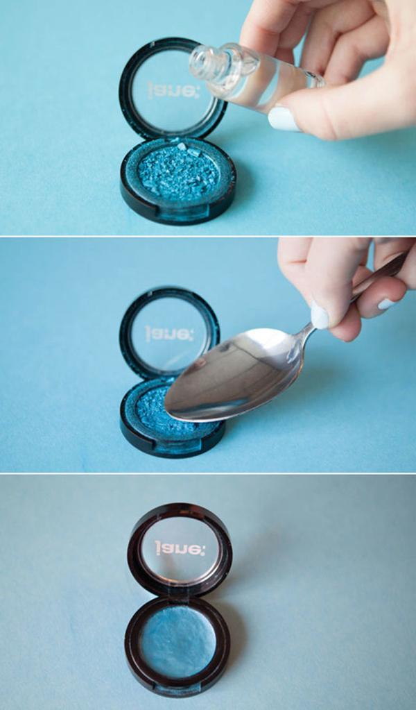 Nếu phấn mắt bị vỡ, bạn cũng có thể dùng Cồn isopropyl để dán chúng lại.
