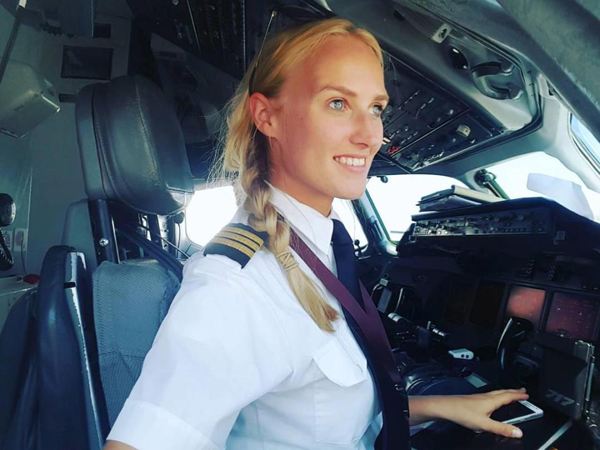 The 24-year-old from Amsterdam, who has been an airline pilot for three years, has shared snaps of her taking in the ancient ruins of Agrigento, Italy, stepping out of a car in Dubai and watching a plane take off overhead.