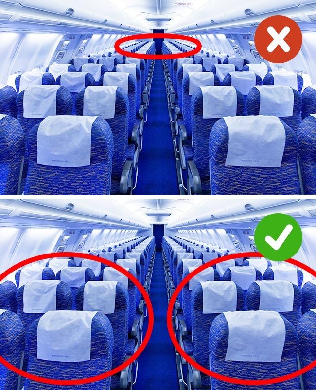 Chọn chỗ ngồi cuối khi đang mệt: Chọn ghế ngồi phía cuối khi đang bị ốm Khi có dấu hiệu ốm, bạn không nên ngồi ghế ở phía cuối máy bay cũng như các phương tiện giao thông khác. Để tránh cảm giác khó chịu, bạn nên chọn ghế phía trước hoặc gần cánh máy bay. Một ngày trước khi bay cũng là thời điểm nhạy cảm, bạn chú ý về đồ ăn không nên là đồ chiên xào, quá nhiều chất béo, không uống đồ có cồn.