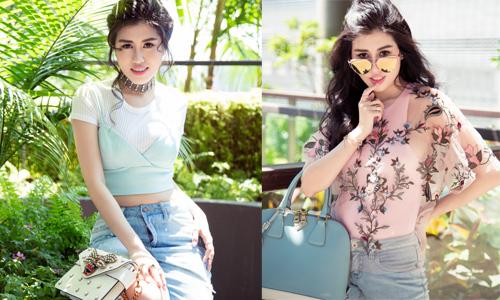 Emily Hồng Nhung mix phụ kiện hàng hiệu với trang phục trẻ trung