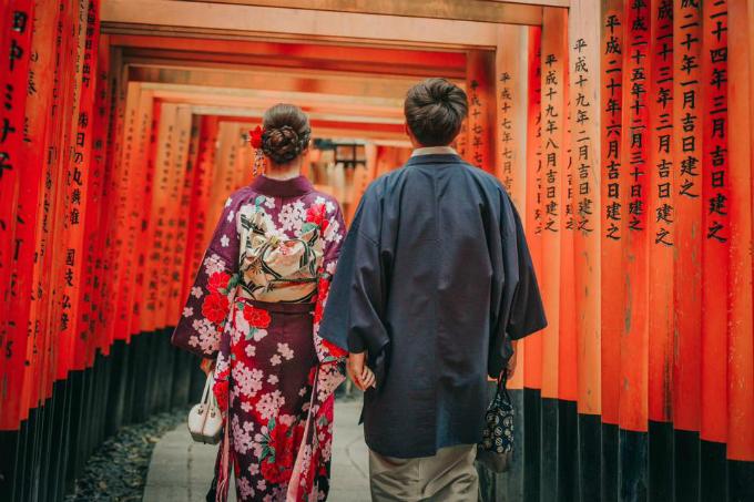 Fushimi-Inari-taisha là đền thờ đứng đầu trong số 3 vạn đền thờ Inari-jinja trên toàn quốc, nó còn thường được gọi với tên gọi thân thuộc là Oinari-san. Tương truyền rằng ngôi đền này được xây dựng vào năm 711. Khu thánh địa rộng khoảng 870.000m2, có trung tâm là núi Inari-yama. Đền thờ Fushimi-Inari-taisha nổi tiếng với đường hầm Zenbon Torii với rất nhiều cổng Torii màu đỏ son nằm trong khuôn viên chùa. Hàng năm có rất nhiều đến đây cầu nguyện làm ăn phát đạt, kinh doanh thuận lợi và để ước nguyện thành sự thật hoặc cảm ơn vì ước nguyện đã đạt thành, họ mang nhiều cổng Torii đặt ở đền. Hiện tại số lượng cổng Torii đã lên tới khoảng 10.000 cái.