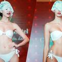 Hà Thu và các thí sinh Miss Earth đeo mạng trình diễn bikini