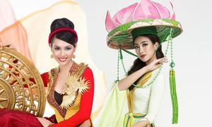 Đỗ Mỹ Linh bị chê 'sến' khi diện áo tứ thân tại Miss World