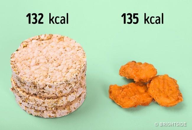 Một nửa gói bánh gạo có lượng calories