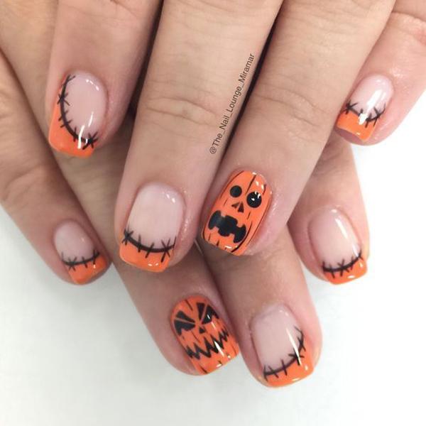 Họa tiết vết khâu và quả bí ngô quen thuộc trong mỗi mùa Halloween.