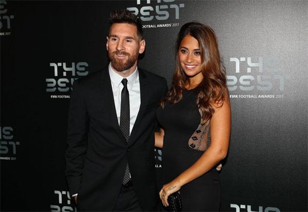 Messi và bà xã Antonella dự Gala The Best của FIFA hồi tháng 10.