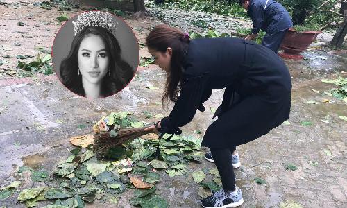 Hoa hậu Phạm Hương cầm chổi quét sân, phát quà cho bà con vùng bão