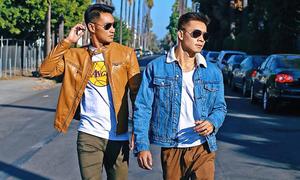 Phong cách thời trang đồng điệu của Hồ Vĩnh Khoa và bạn trai