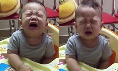 Bé trai một tuổi khóc nức nở vì sợ chú chó đồ chơi