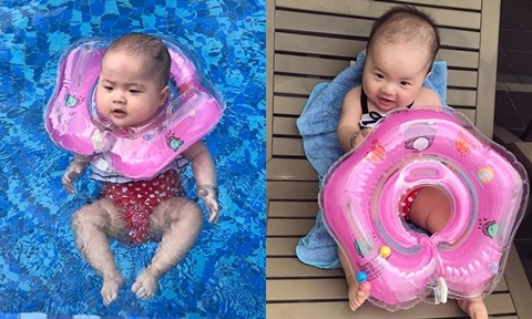 Mẹ 9X tập cho con hết sợ nước, thích thú đi bơi từ 5 tháng tuổi