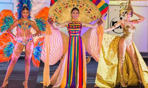 Nguyễn Thị Loan và các thí sinh Miss Universe lộng lẫy thi trang phục dân tộc