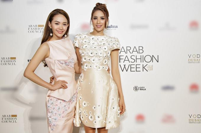 Minh Hằng và Phạm Hương đều là những khách mời đặc biệt của nhà thiết kế Phương My tại Arab Fashion Week. Tuần lễ thời trang Ả Rập là nơi hội tụ của những nhà thiết kế nổi tiếng, có thị trường lớn ở các quốc gia Trung Đông và Việt Nam chúng ta có đại diện duy nhất là Phươg My.